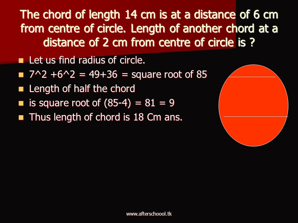 The chord of length 14 cm is at a distance of 6 cm from centre of circle. Length of another chord at a distance of 2 cm from centre of circle is