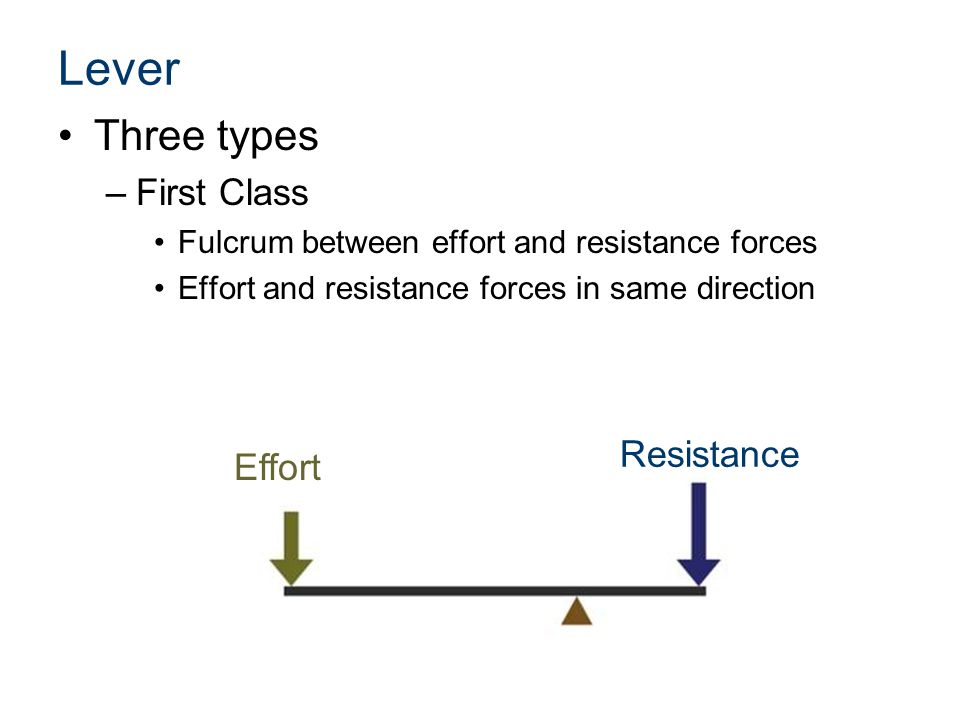 Lever Three types First Class Resistance Effort