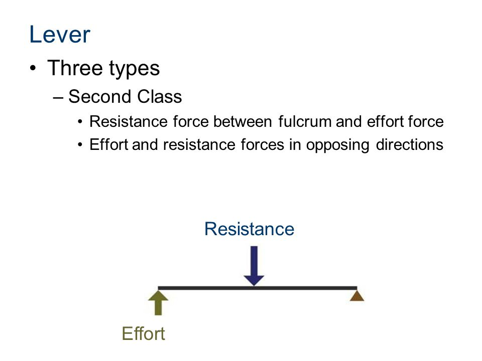 Lever Three types Second Class Resistance Effort