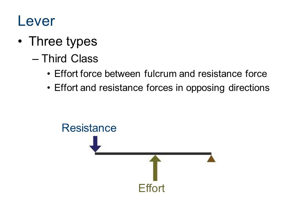 Lever Three types Third Class Resistance Effort