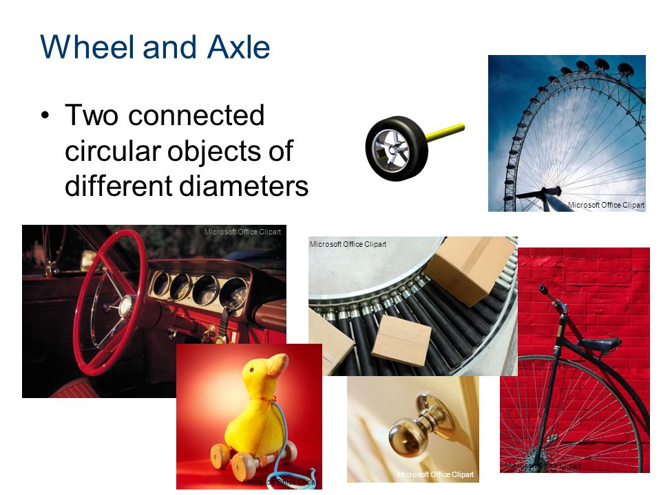 Wheel and Axle Two connected circular objects of different diameters