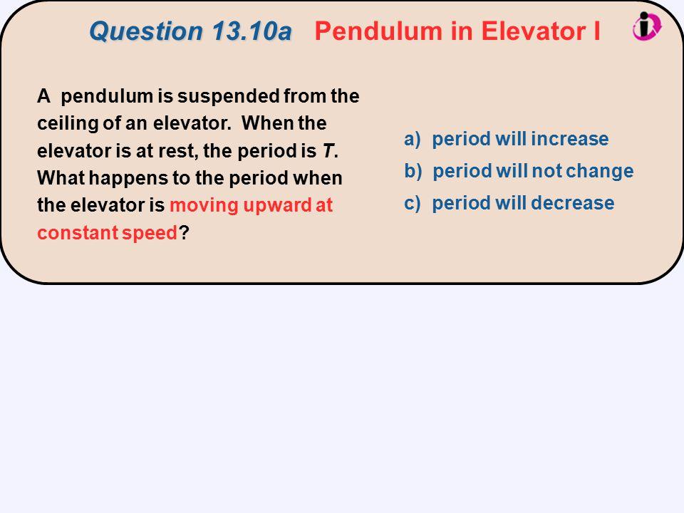 Question 13.10a Pendulum in Elevator I