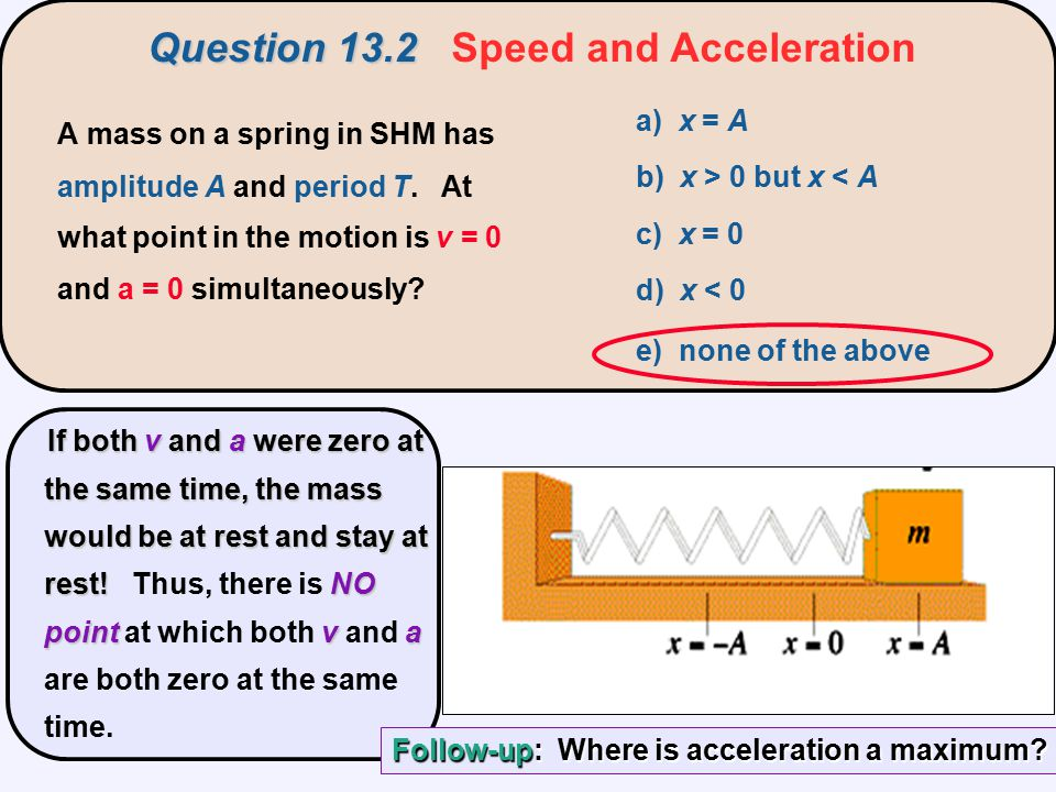 Question 13.2 Speed and Acceleration