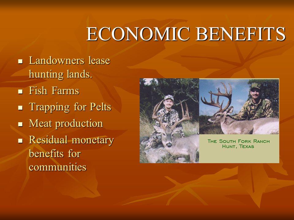 ECONOMIC BENEFITS Landowners lease hunting lands. Fish Farms