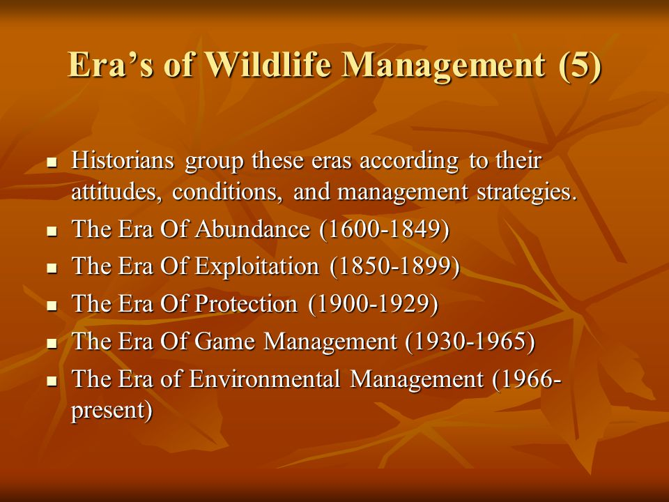 Era's of Wildlife Management (5)