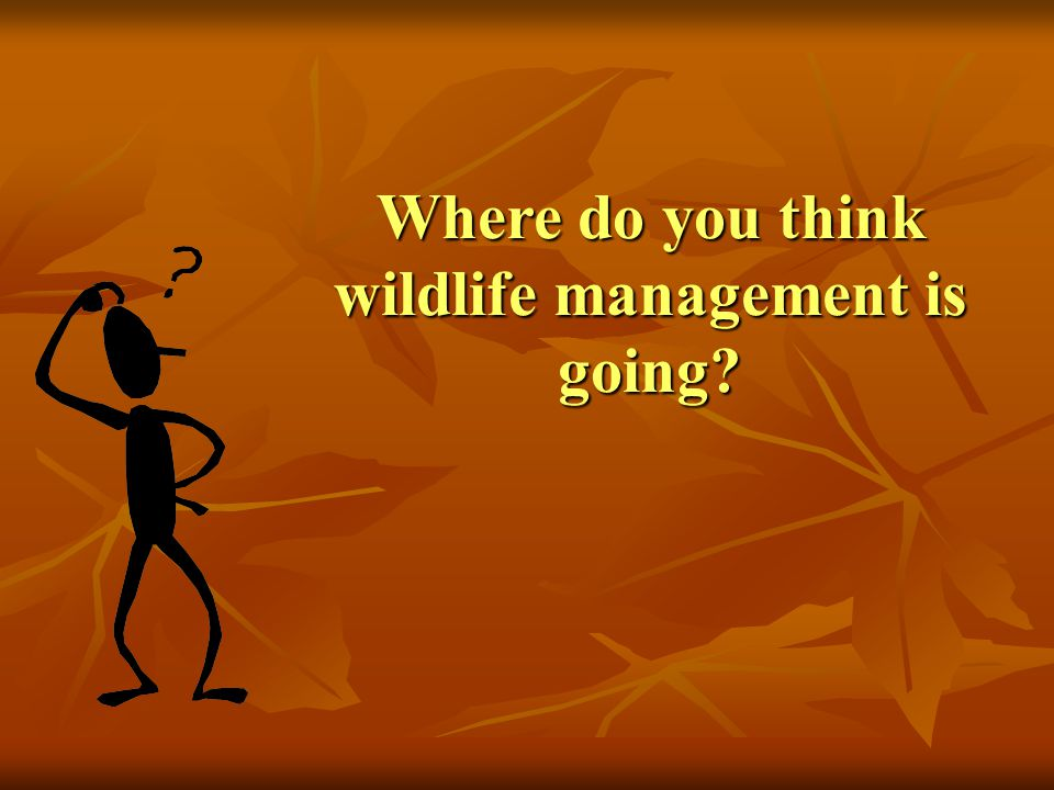 Where do you think wildlife management is going