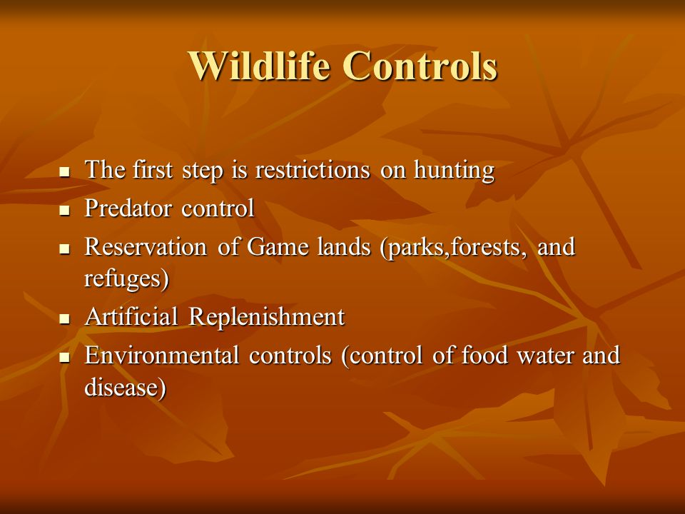 Wildlife Controls The first step is restrictions on hunting