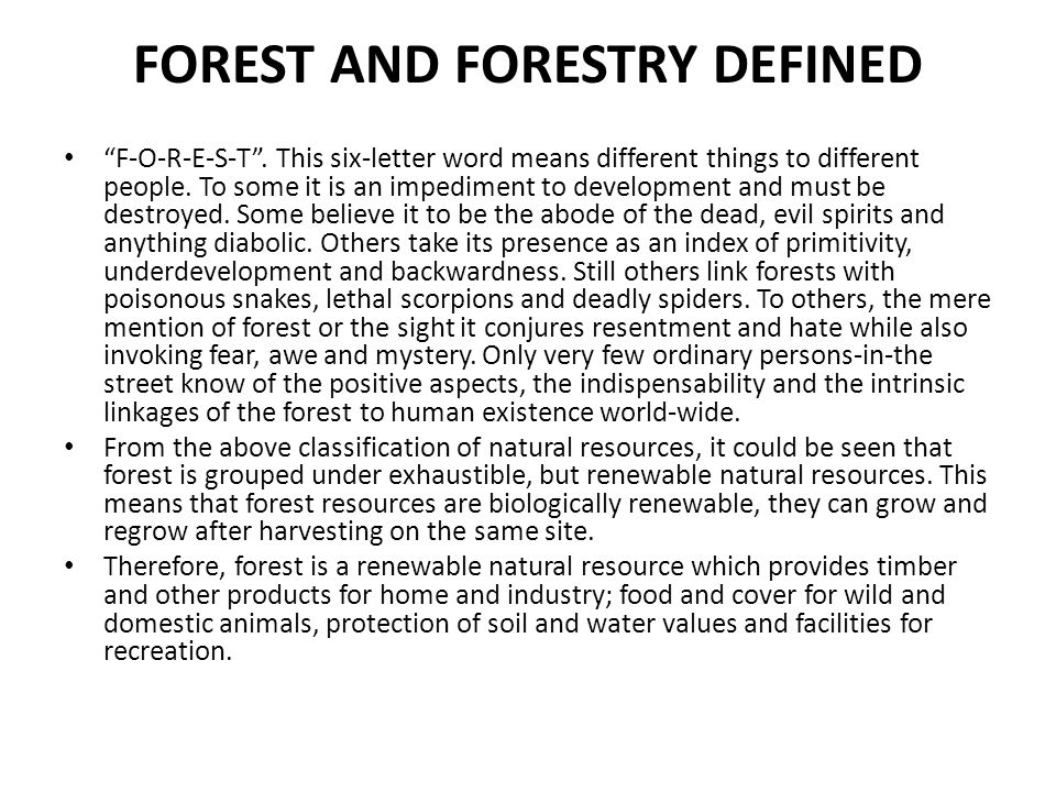 FOREST AND FORESTRY DEFINED