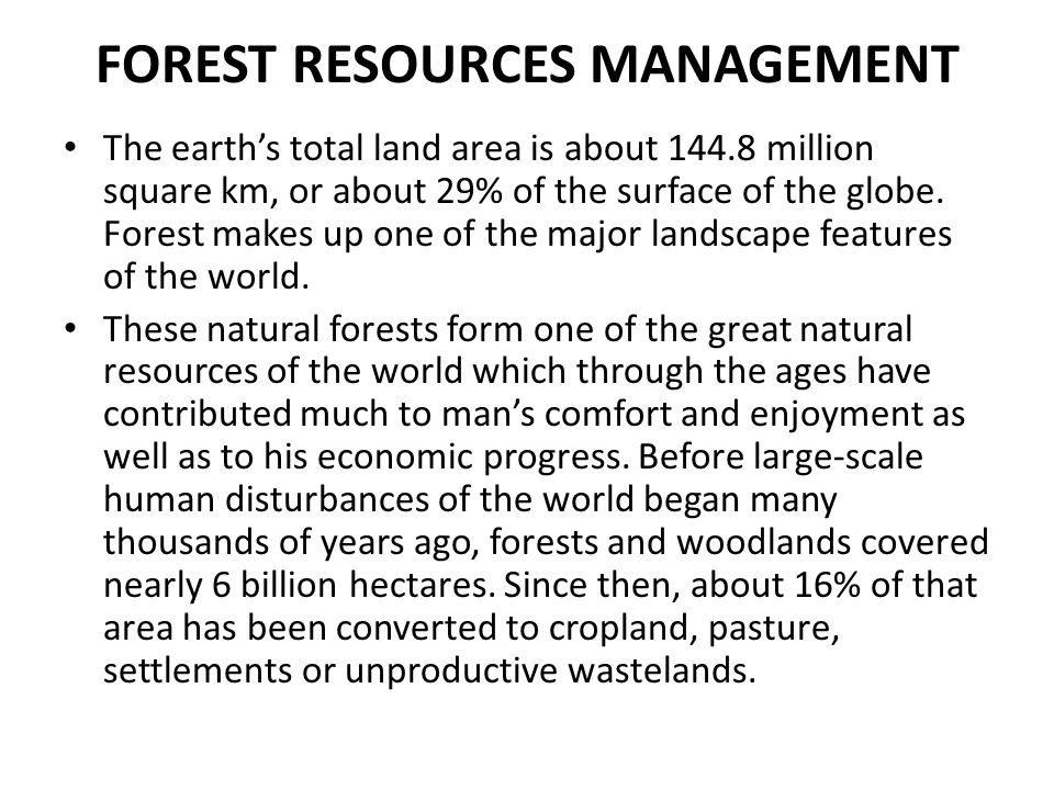 FOREST RESOURCES MANAGEMENT
