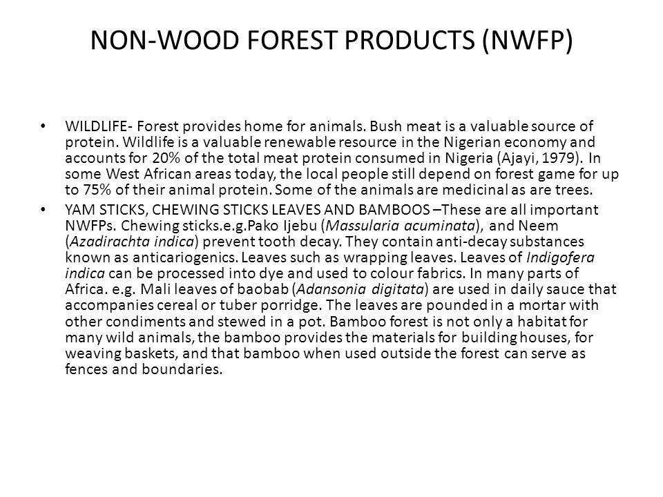 NON-WOOD FOREST PRODUCTS (NWFP)