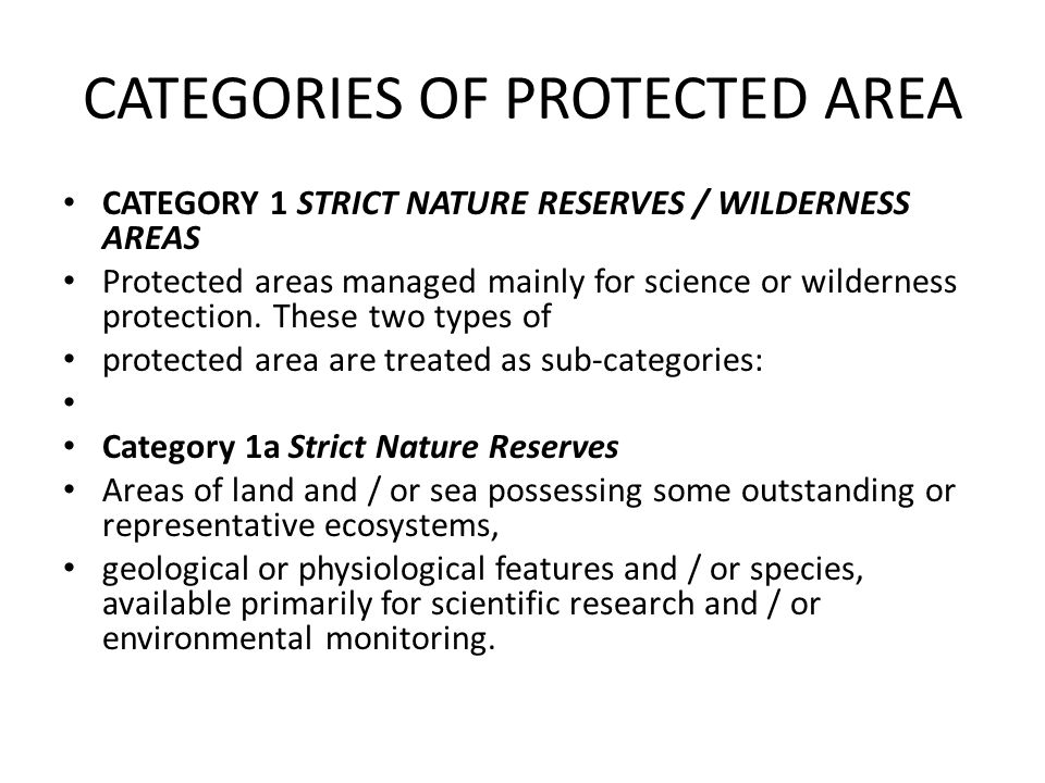CATEGORIES OF PROTECTED AREA
