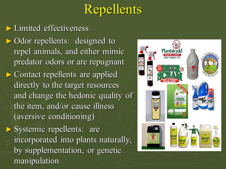 Repellents Limited effectiveness