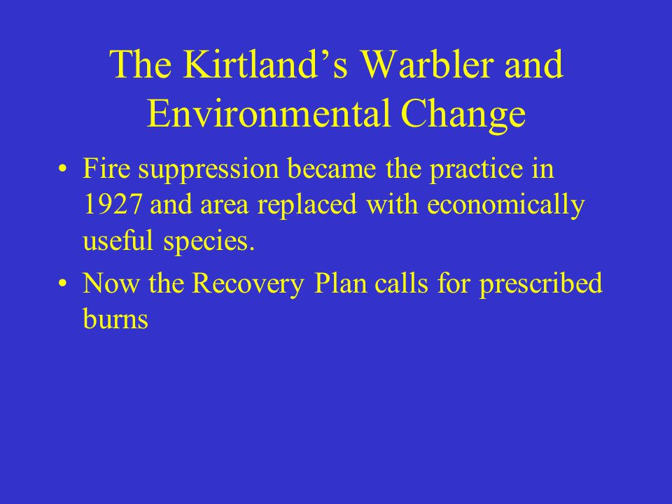 The Kirtland's Warbler and Environmental Change