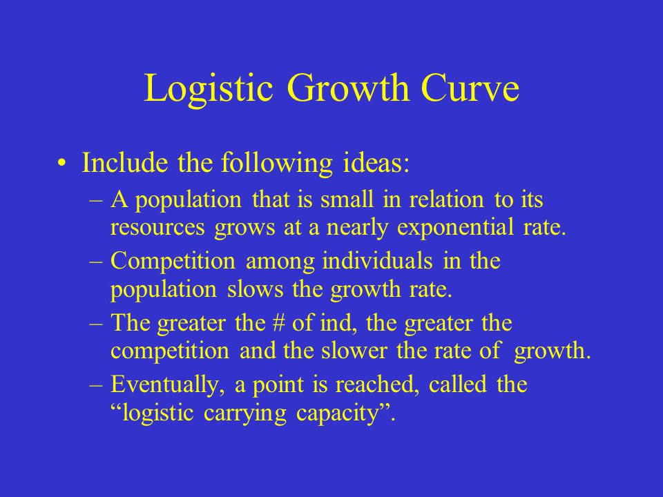 Logistic Growth Curve Include the following ideas: