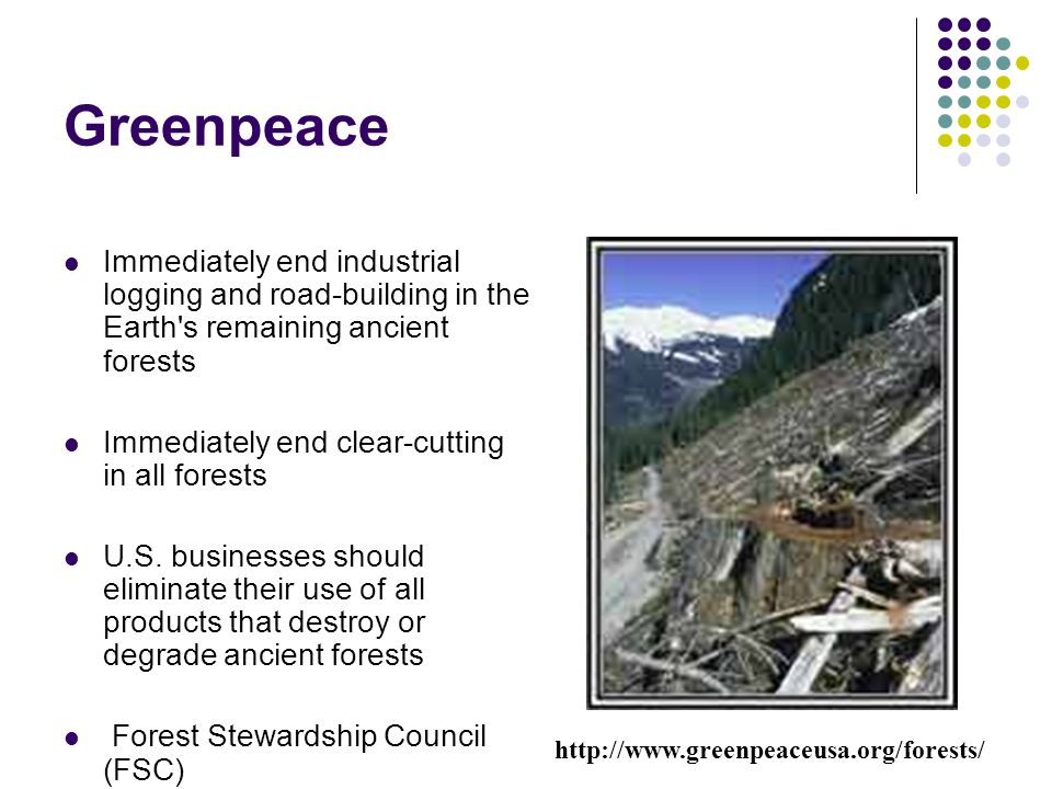 Greenpeace Immediately end industrial logging and road-building in the Earth s remaining ancient forests.