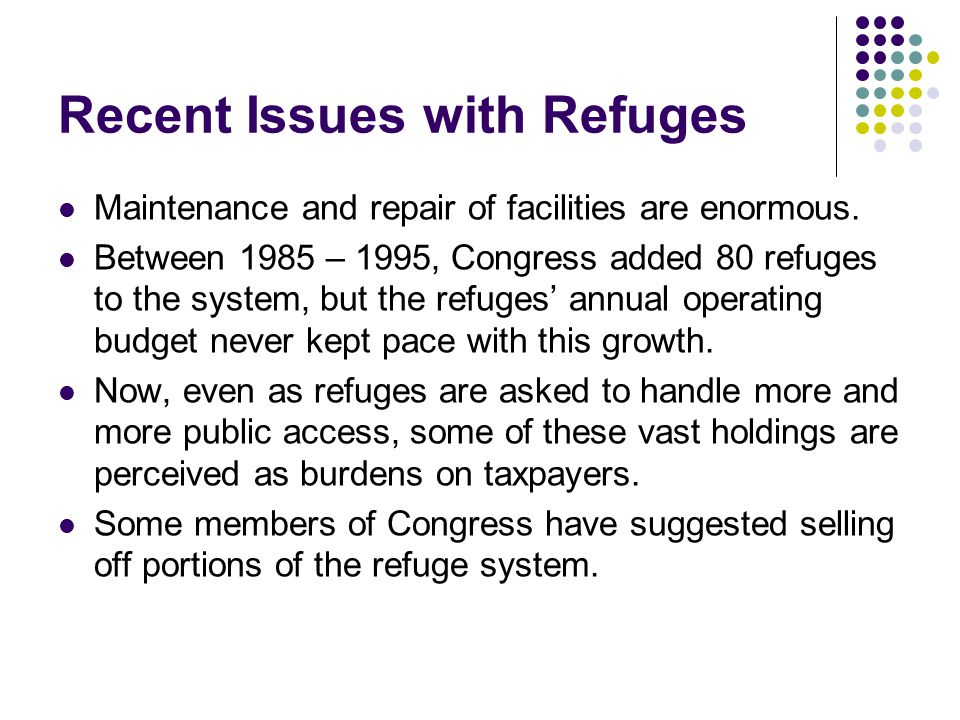 Recent Issues with Refuges