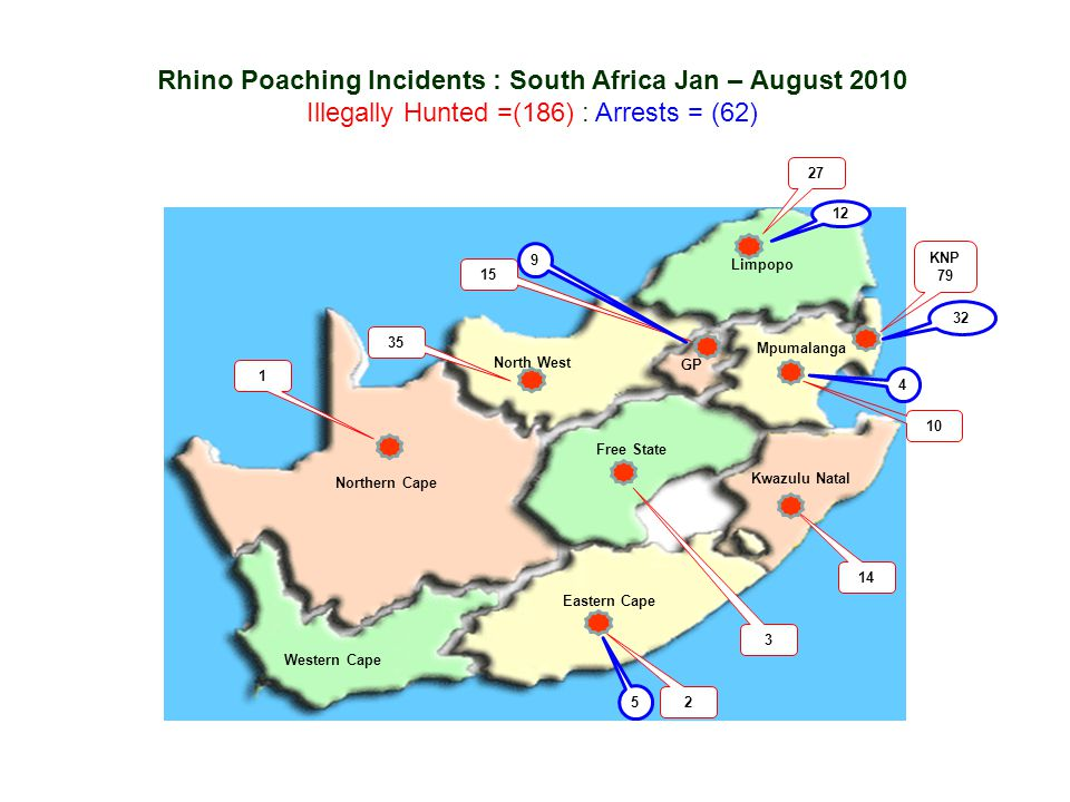Rhino Poaching Incidents : South Africa Jan – August 2010
