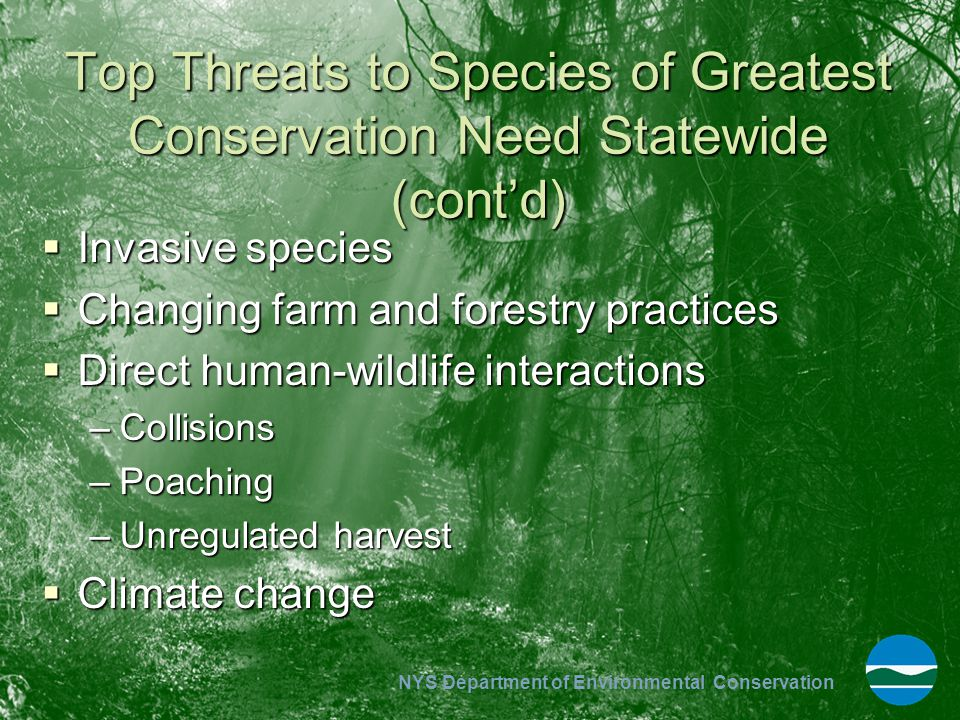 Top Threats to Species of Greatest Conservation Need Statewide (cont'd)