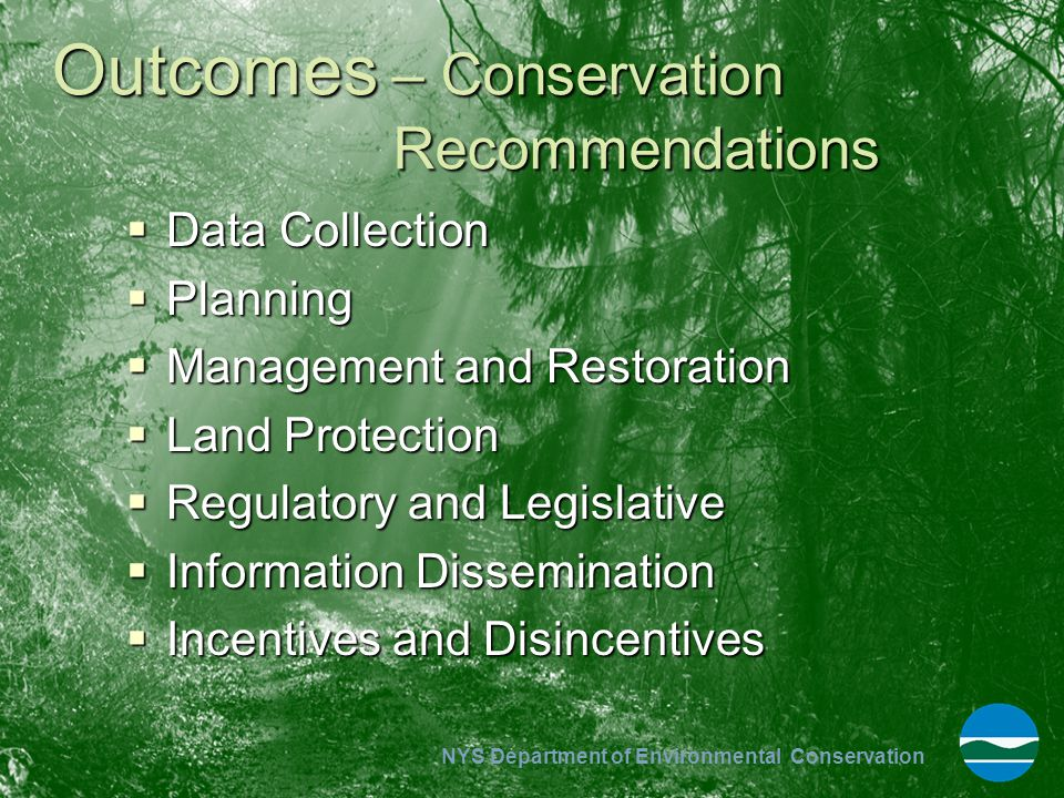Outcomes – Conservation Recommendations