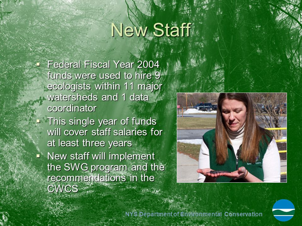 New Staff Federal Fiscal Year 2004 funds were used to hire 9 ecologists within 11 major watersheds and 1 data coordinator.