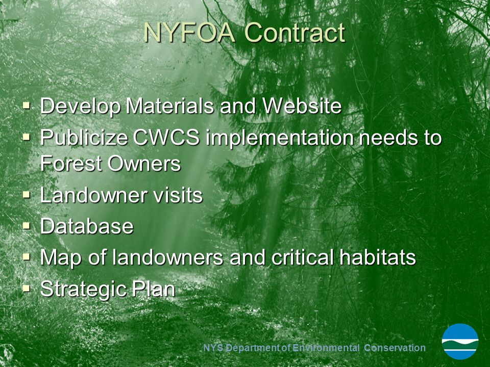NYFOA Contract Develop Materials and Website