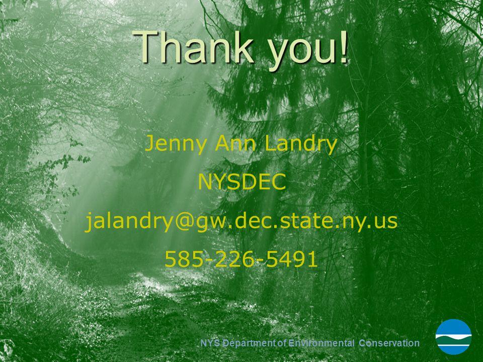Thank you! Jenny Ann Landry NYSDEC jalandry@gw.dec.state.ny.us