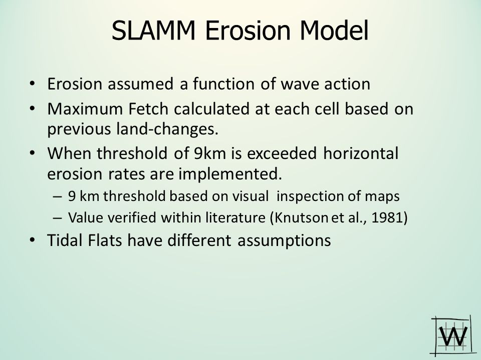 SLAMM Erosion Model Erosion assumed a function of wave action