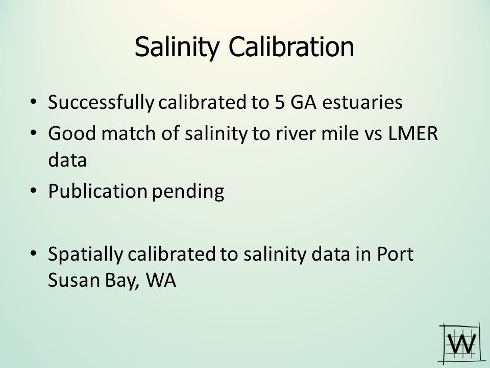 Salinity Calibration Successfully calibrated to 5 GA estuaries