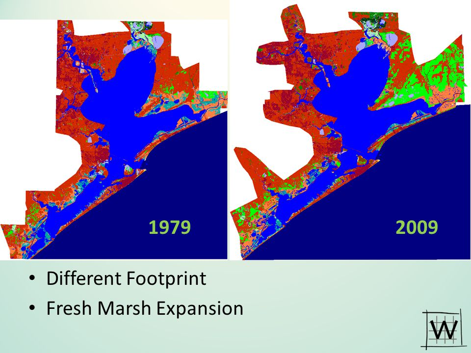 1979 2009 Different Footprint Fresh Marsh Expansion