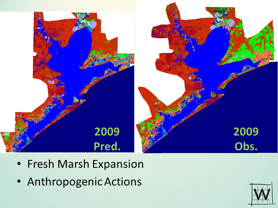 2009 Pred. 2009 Obs. Fresh Marsh Expansion Anthropogenic Actions