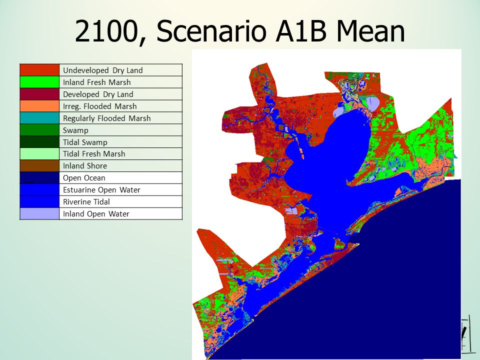 2100, Scenario A1B Mean Irreg. Flooded Marsh Streaks – soil saturation