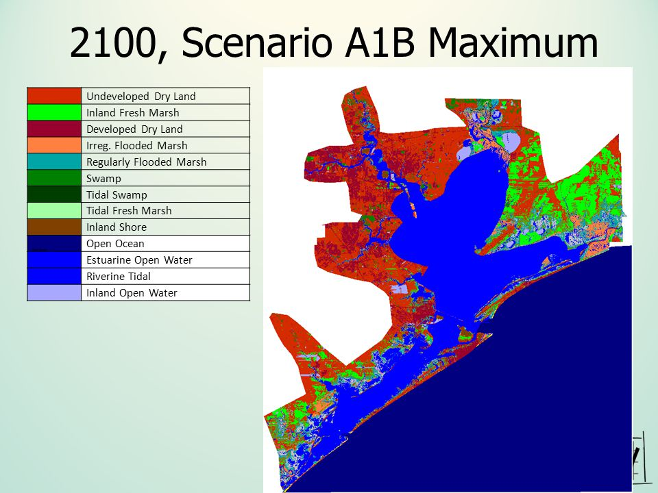2100, Scenario A1B Maximum Irreg. Flooded Marsh Undeveloped Dry Land