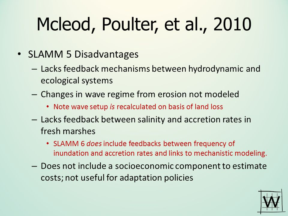 Mcleod, Poulter, et al., 2010 SLAMM 5 Disadvantages