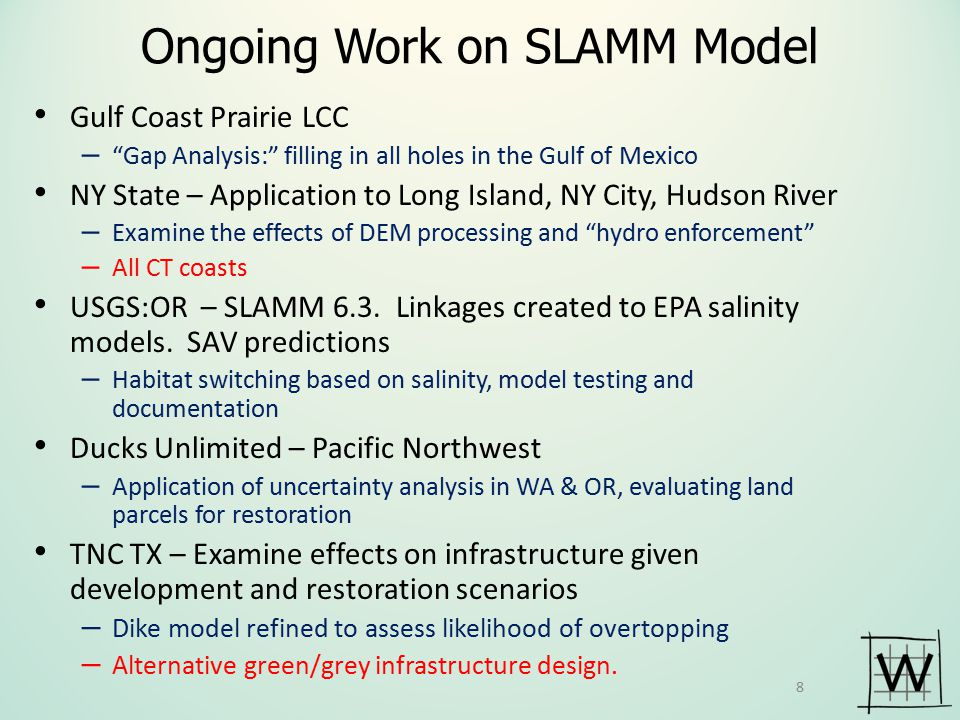 Ongoing Work on SLAMM Model