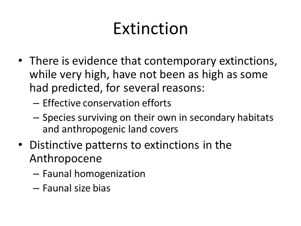 Extinction There is evidence that contemporary extinctions, while very high, have not been as high as some had predicted, for several reasons: