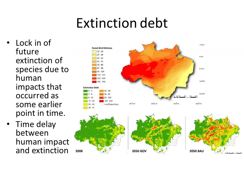 Extinction debt Lock in of future extinction of species due to human impacts that occurred as some earlier point in time.