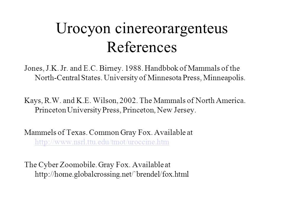 Urocyon cinereorargenteus References