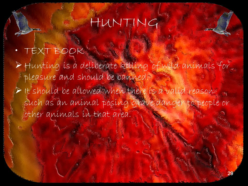 HUNTING TEXT BOOK. Hunting is a deliberate killing of wild animals for pleasure and should be banned.