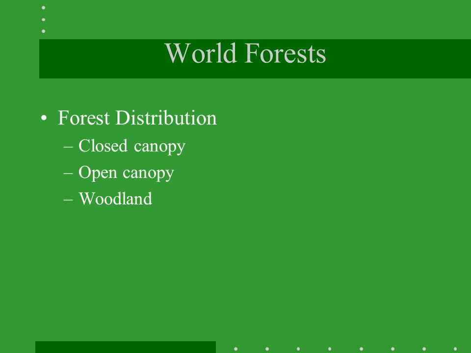 World Forests Forest Distribution Closed canopy Open canopy Woodland