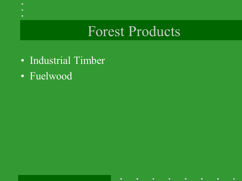Forest Products Industrial Timber Fuelwood