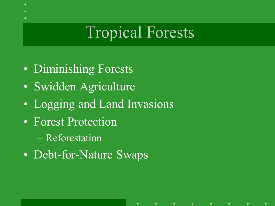 Tropical Forests Diminishing Forests Swidden Agriculture