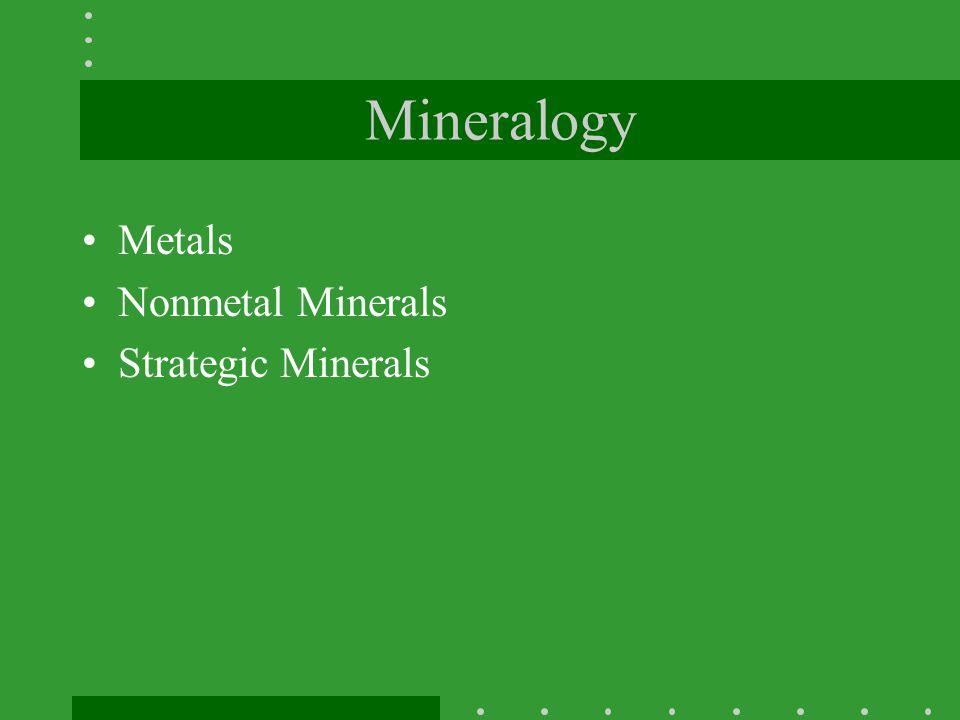 Mineralogy Metals Nonmetal Minerals Strategic Minerals