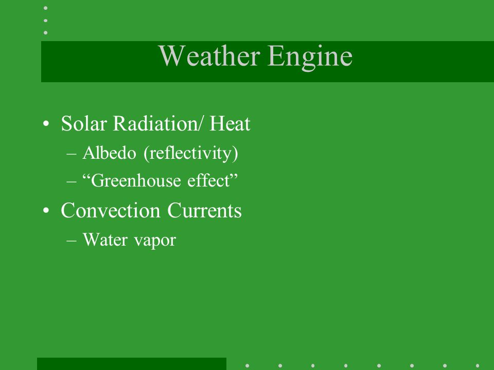 Weather Engine Solar Radiation/ Heat Convection Currents