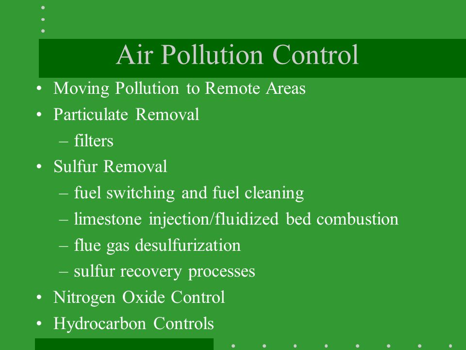 Air Pollution Control Moving Pollution to Remote Areas