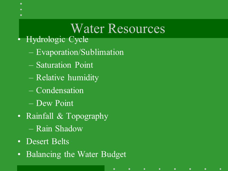 Water Resources Hydrologic Cycle Evaporation/Sublimation