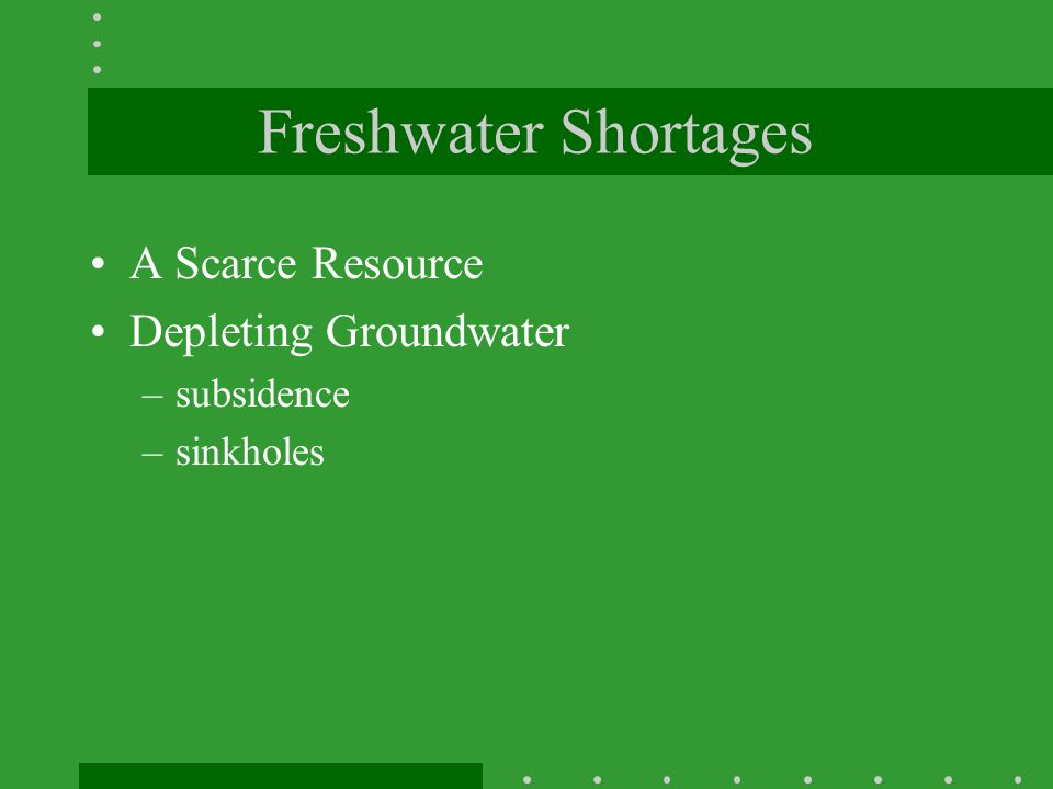 Freshwater Shortages A Scarce Resource Depleting Groundwater