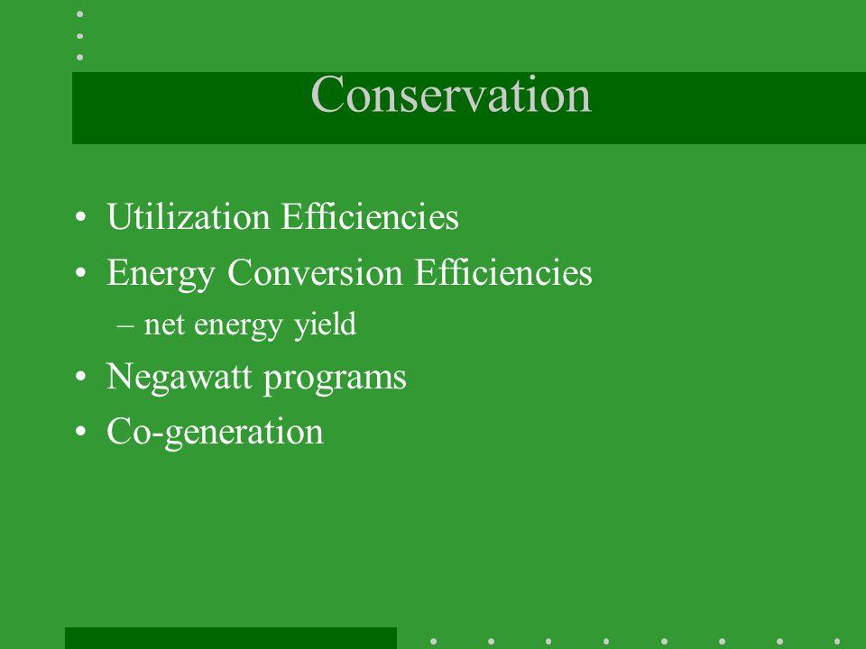 Conservation Utilization Efficiencies Energy Conversion Efficiencies