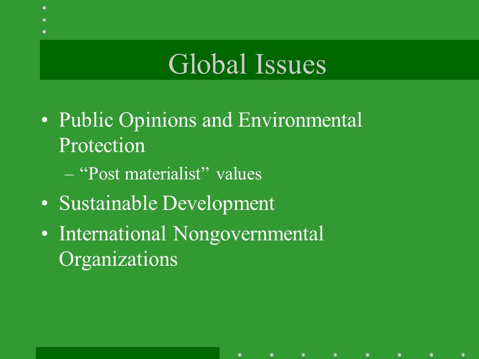 Global Issues Public Opinions and Environmental Protection