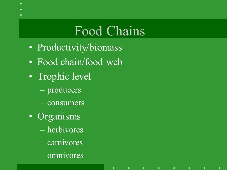 Food Chains Productivity/biomass Food chain/food web Trophic level