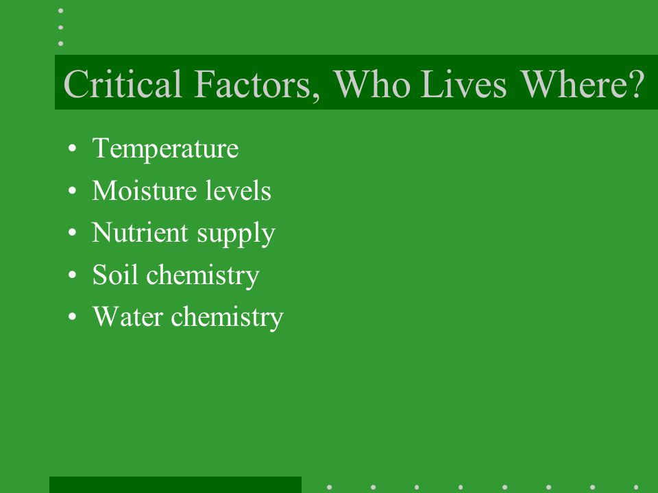 Critical Factors, Who Lives Where